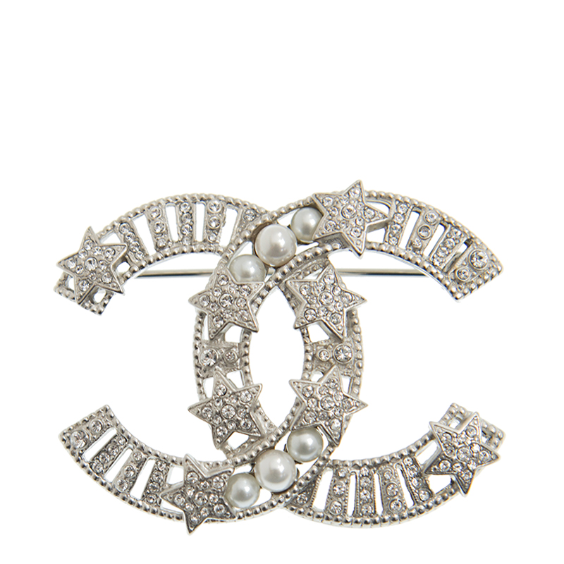 NEW CHANEL BROOCH AB3554 SILVER METAL