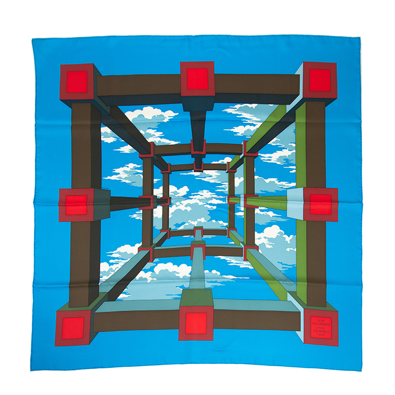 HERMES エルメス スカーフ PERSPECTIVE 90cm シルク ブルー [取り寄せ/新品]