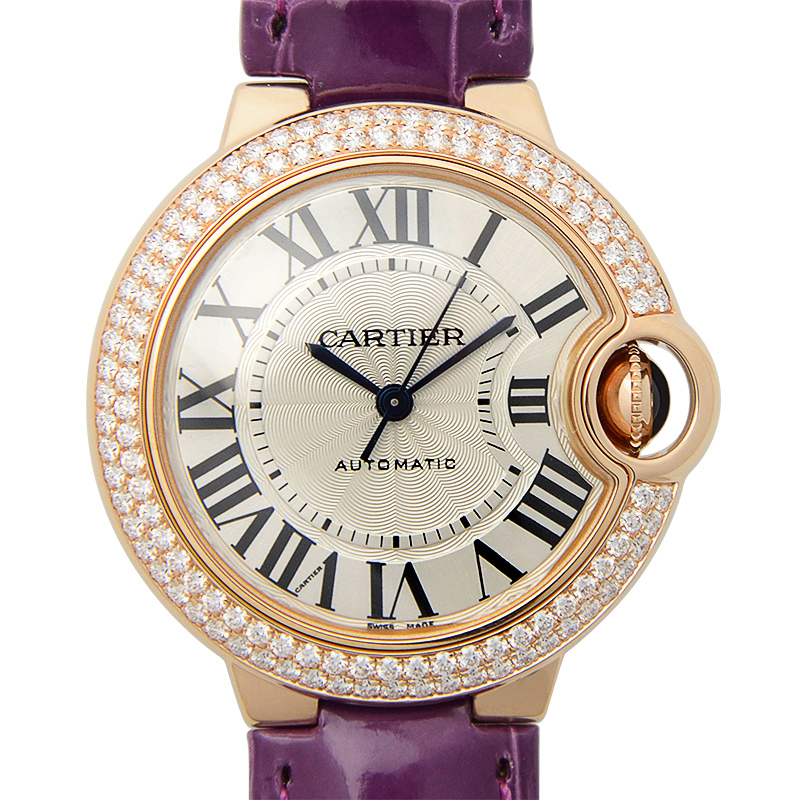 [未使用品] Cartier カルティエ バロンブルー 18Kローズゴールド/ダイヤ入り シルバー 自動巻き WE902066